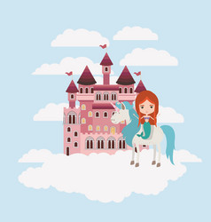 Mermaid with unicorn in the clouds and castle vector