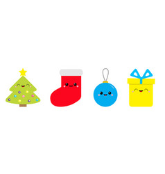 merry christmas icon set fir tree ball toy sock vector image