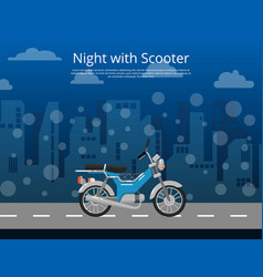 Night with scooter poster in flat style vector