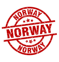 norway red round grunge stamp vector image