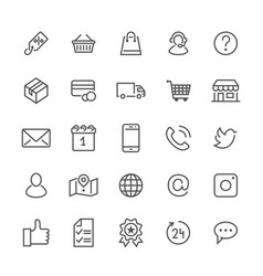 Online shopping flat line icons e-commerce vector