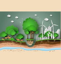 paper cut of eco vector image