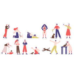 people with pets pet owners playing walking and vector image