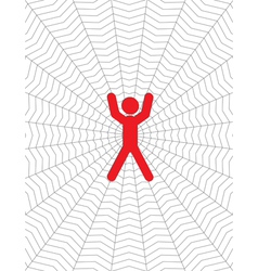 person entangled in a cobweb vector image