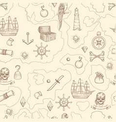 pirate map seamless nautical vintage detailed vector image