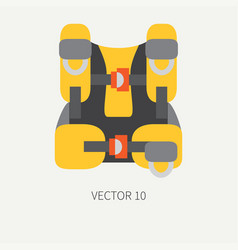 Plain flat color diver underwater equipment vector