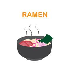 Ramen in bowl vector