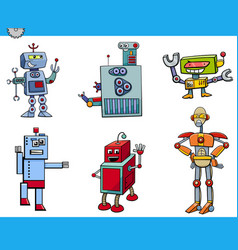 Robot cartoon characters set vector