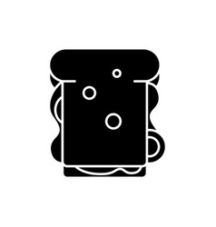 sandwich black icon sign on isolated vector image