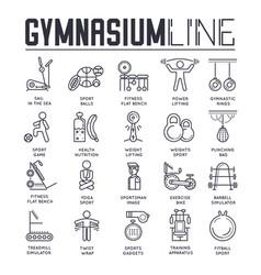 set gymnasium thin line icons sport logos vector image