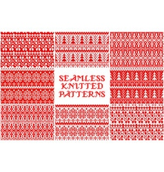 Set Knitted Christmas pattern vector