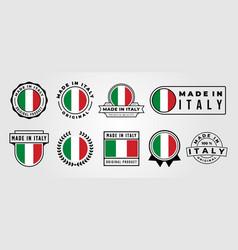 set made in italy label badge bundle symbol vector image