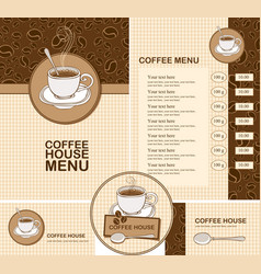 Set of design elements for coffee house with menu vector