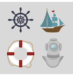 Set of icons relating to the sea vector