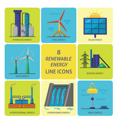 Set of renewable energy flat style icons vector