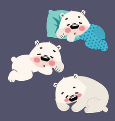 Set of sleeping polar bears collection of cartoon vector