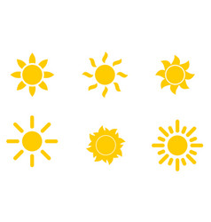 set of yellow icons of the sun isolated on white vector image