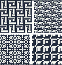 set seamless patterns abstract geometric vector image