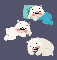 set sleeping polar bears collection cartoon vector image
