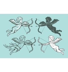 set to classic angels or cupids vector image