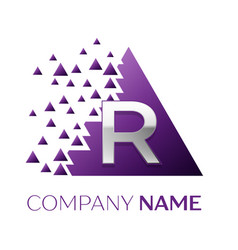 Silver letter r logo in the purple pixel triangle vector