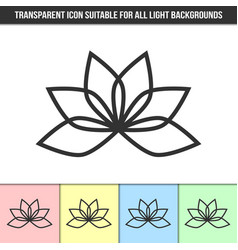 simple outline transparent lotus flower icon on vector image