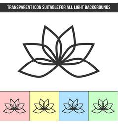Simple outline transparent lotus flower icon vector
