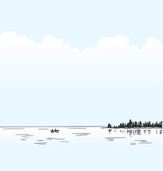 sketch calm lake with couple on boat far in vector image