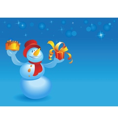 Snowman with cake and gift on blue vector