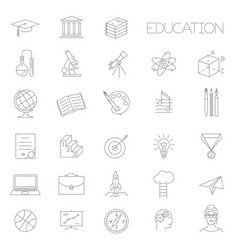 thin line education icon set vector image