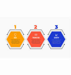 Three steps infographic in hexagonal shape design vector
