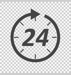 Time icon flat 24 hours on isolated background vector