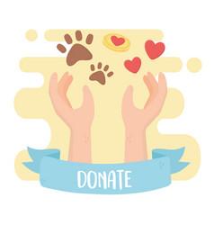 volunteering help charity hands love animals vector image
