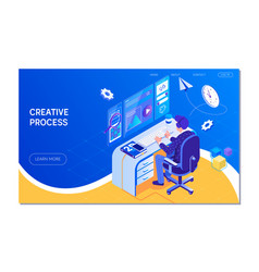 web design creative process teamwork vector image