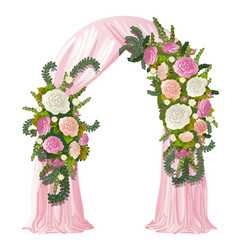 Wedding arch decorated with pink curtain and vector
