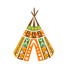 Wigwam hut with decorative pattern textile native vector