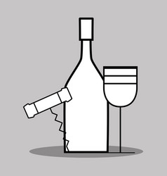 Wine bottle and glass with corkscrew vector