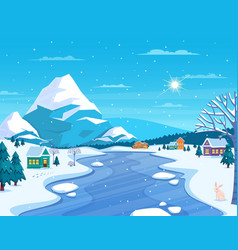 Winter landscape and town vector