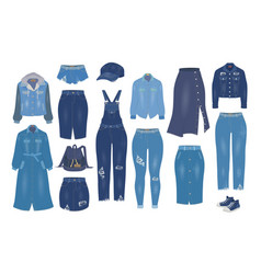 women denim clothes set flat isolated vector image