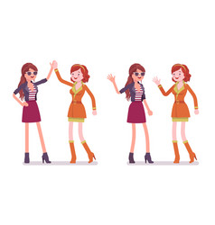 women friendly greeting vector image