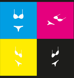 women swimsuit sign white icon with vector image