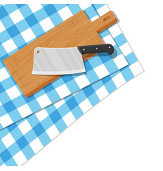 Wooden cutting board and kitchen knife vector