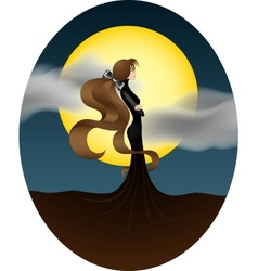 young girl with a big yellow moon vector image