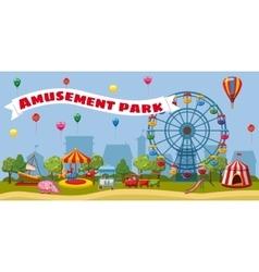 Amusement park landscape concept cartoon style vector image