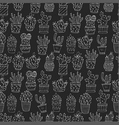 cactus succulents seamless pattern vector image