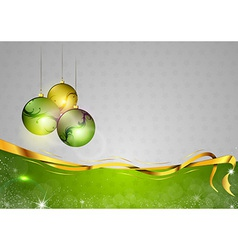 christmas background two color green balls vector image