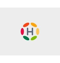 Color letter H logo icon design Hub frame vector image