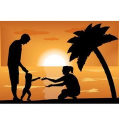 family with a child at sunset vector image vector image