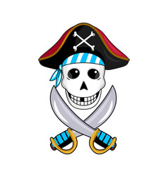 pirate sign with skull and crossed swords vector image