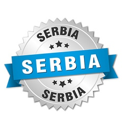 Serbia round silver badge with blue ribbon vector image vector image